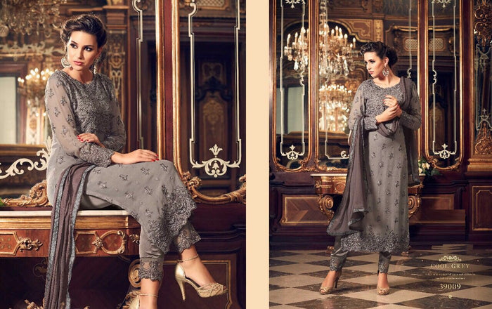 Dark Gray Georgette Salwar Kameez