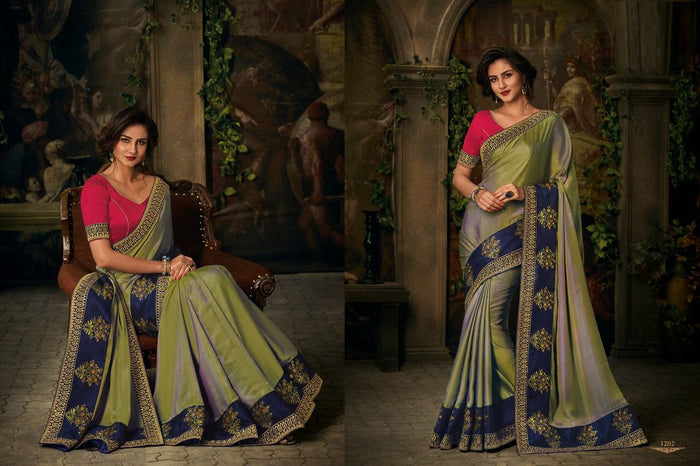 Gray & Green Jacquard Saree