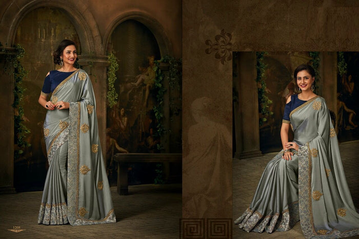Gray Rangoli Silk Saree