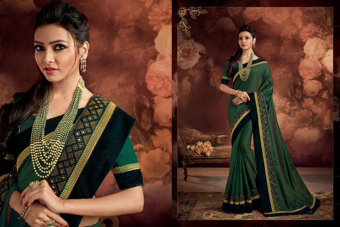 Olive Green Barfi Silk Saree