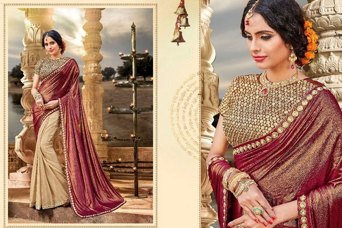 Beige & Maroon Shaded Lycra Saree