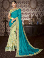 Blue & Cream Art Silk / Net Saree