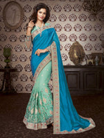 Blue & Sea Green Art Silk / Net Saree