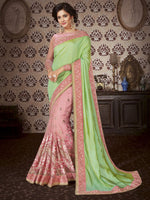 Green & Pink Art Silk / Net Saree