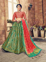 Green & Red Banarasi Silk Lehenga Choli