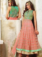 Light Green & Pink Silk Net Readymade Suit