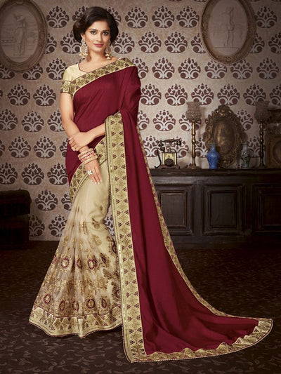 Maroon & Beige Art Silk / Net Saree
