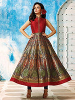 Navy Blue & Red Banarasi Silk - Brocade Silk - Readymade Suit