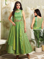 Neon Green Dhupion Silk Net Readymade Suit