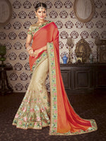 Orange & Beige Art Silk / Net Saree