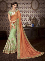Orange & Green Art Silk / Net Saree