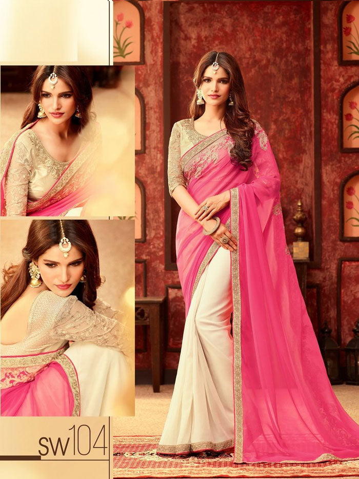 Pink & Cream Georgette Saree
