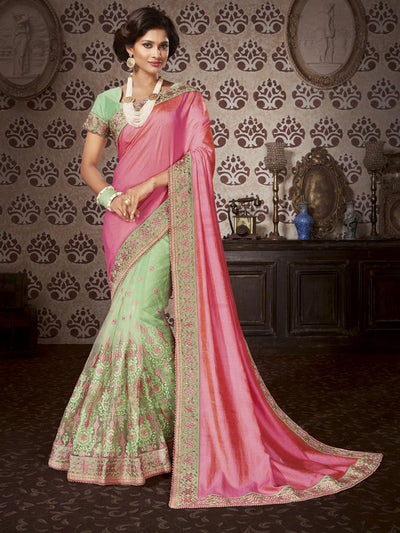 Pink & Green Art Silk / Net Saree