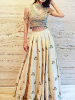 Raw Silk Off White - Beige Designer Lehenga Choli
