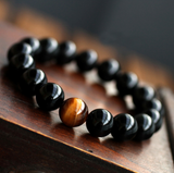Natural black Onyx with stone tiger eye beads bracelet for mens jewelry 12 constellation Lovers Energy Balance bracelet