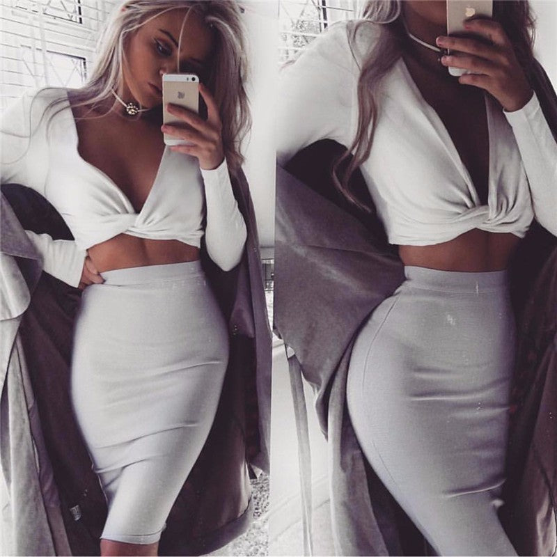 Long sleeve v-neck tank crop top crop top