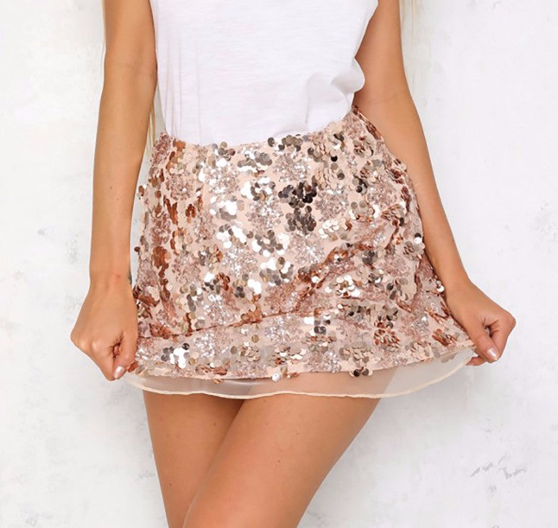 Sequin High Waist Tulle Bodycon Mini Skirt