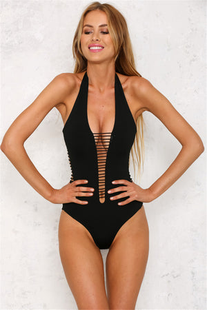 Backless Deep V Neck Bandage Monokini Women