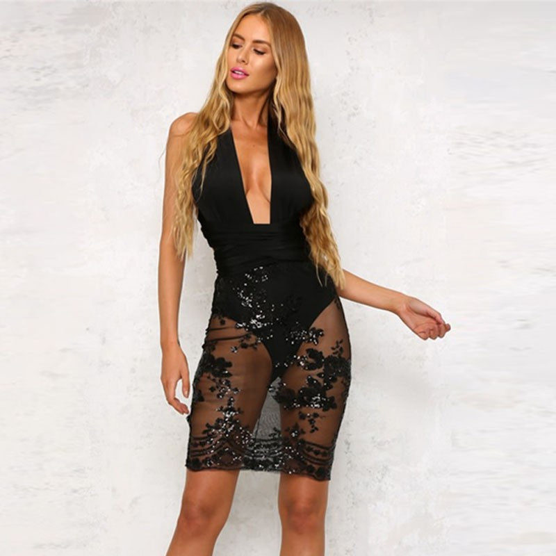 Chic Sequin Bandage Deep V Neck Dress