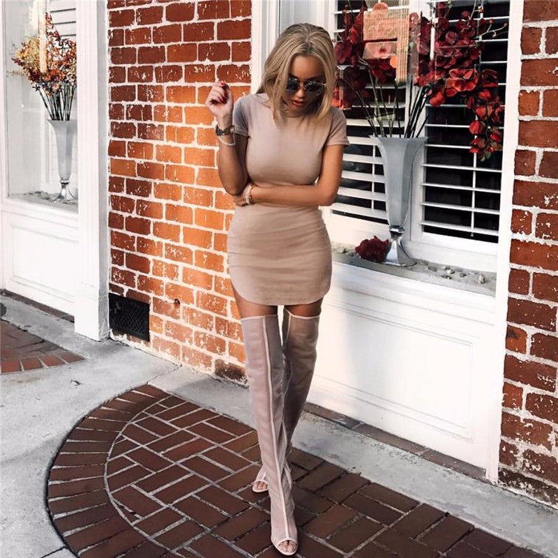Elegant Short Sleeve Slim Suede Bodycon Dress