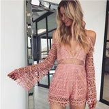 Lace V Neck Long Sleeve Overall Romper
