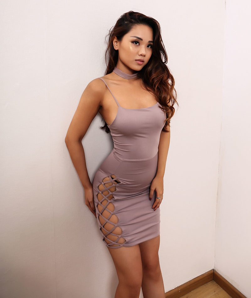 Side See-through Hollow Out Sleeveless Backless Mini Dress