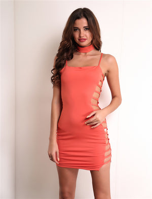 Side Hollow Out Sleeveless Club Dress