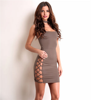 Side See-through Hollow Out Sleeveless Dress