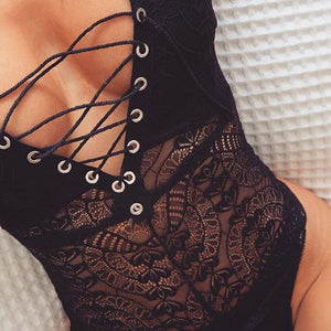 Cross Lace Up V Neck Jumsuit