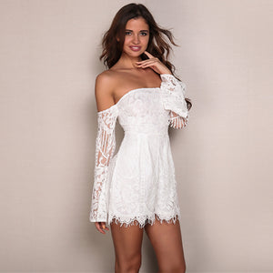 Lace Mesh Strapless Bodycon Short Romper