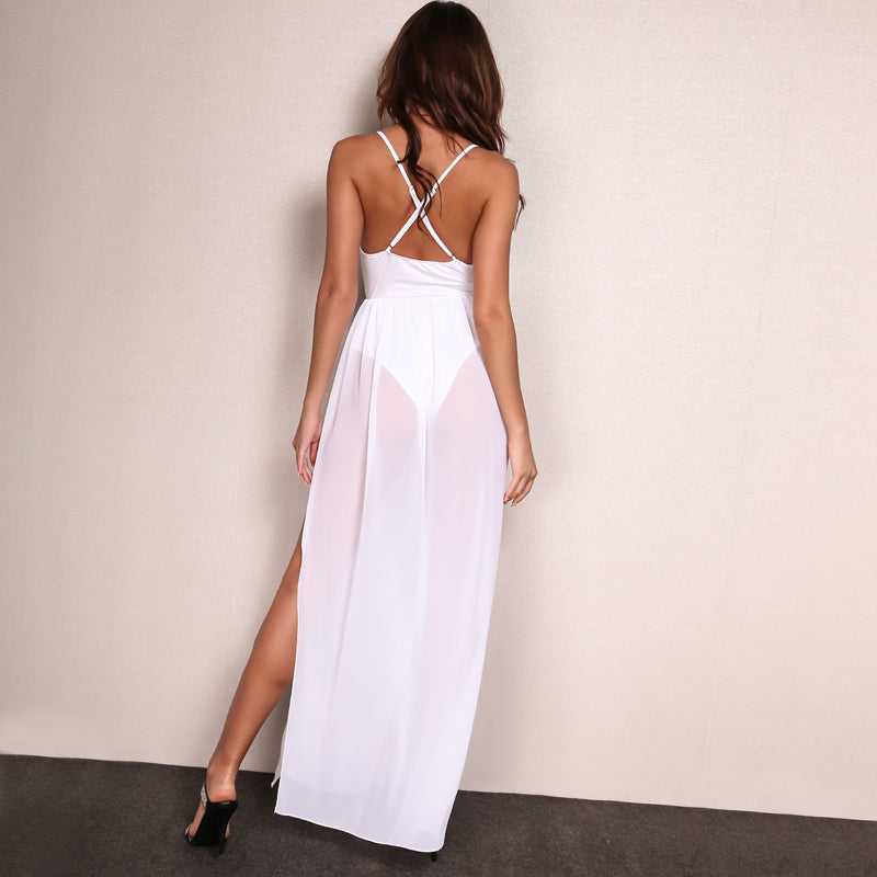 Chiffon Boho Sleeveless V Neck Long Dress