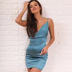 Sleeveless Sling Deep V Halter Dress
