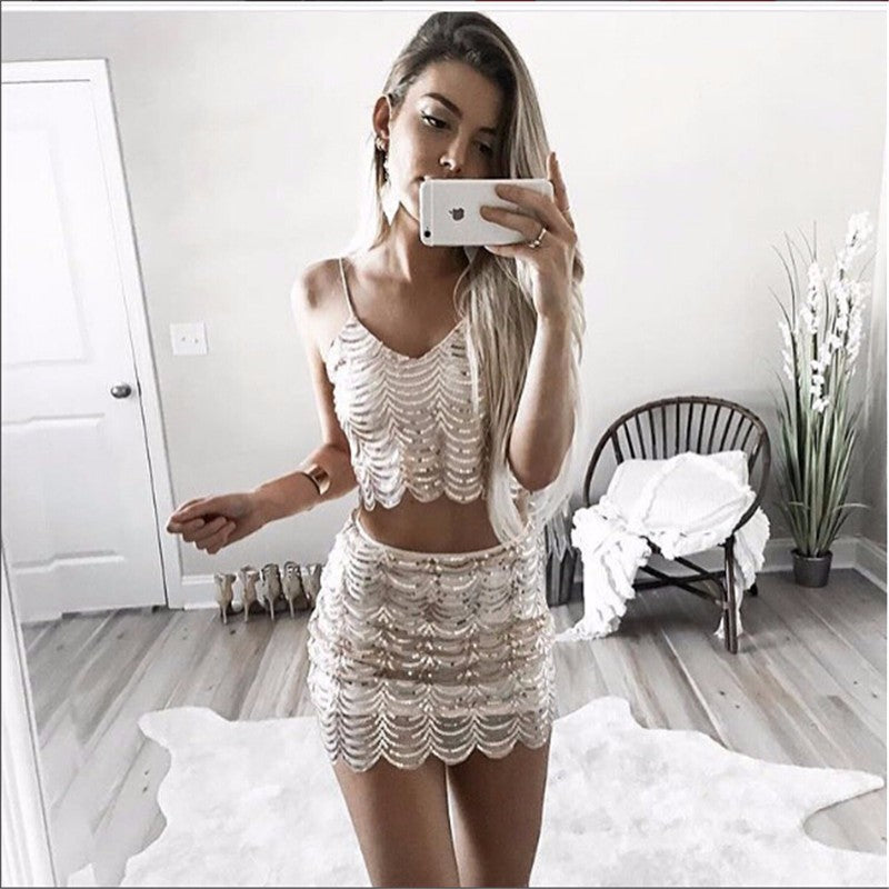 Sling Backless Sequin Patchwork Two Piece Set