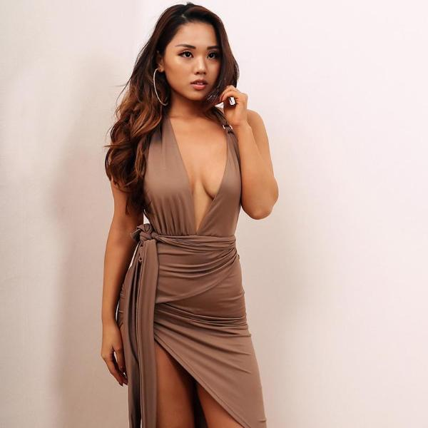 Backless Side Slit Fork irregular Deep V Neck Halter Dress