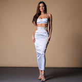 Hollow Out Deep V Neck Sleeveless Two Pieces Set