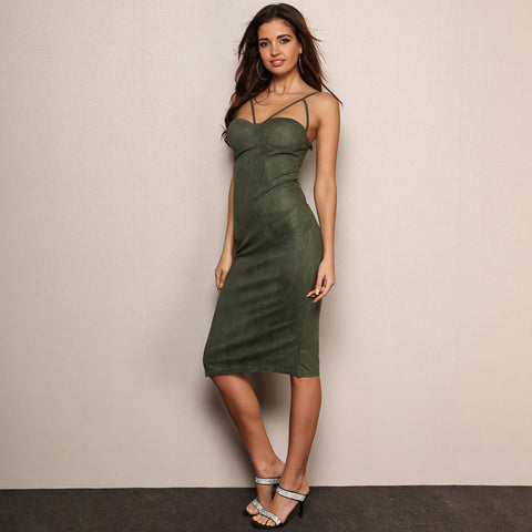 Sleeveless Midi Hip Package Suede Bodycon Party Dress