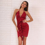 Backless V Neck Halter Off Shoulder Ruffle Asymmetrical Dress