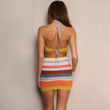 Halter Backless Vintage Knitted Dress