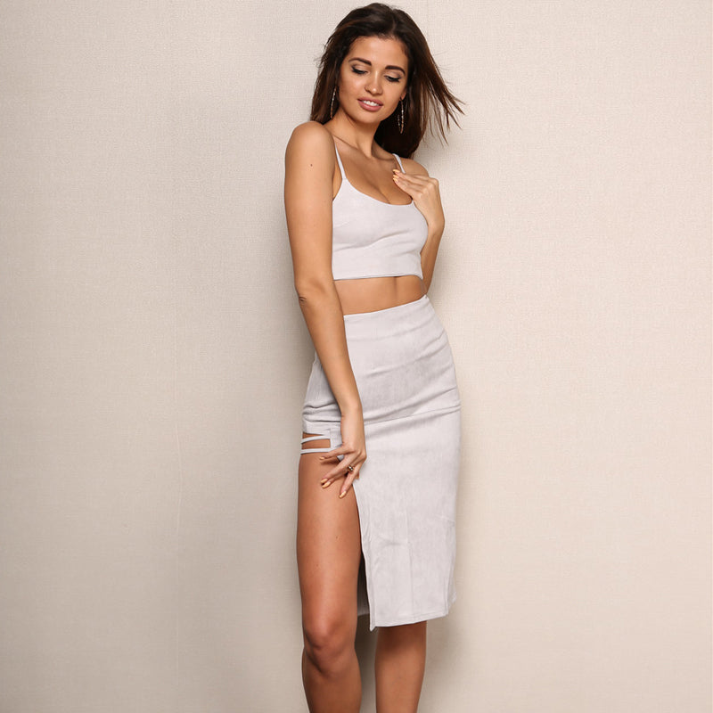 Halter Sleeveless Slit Set