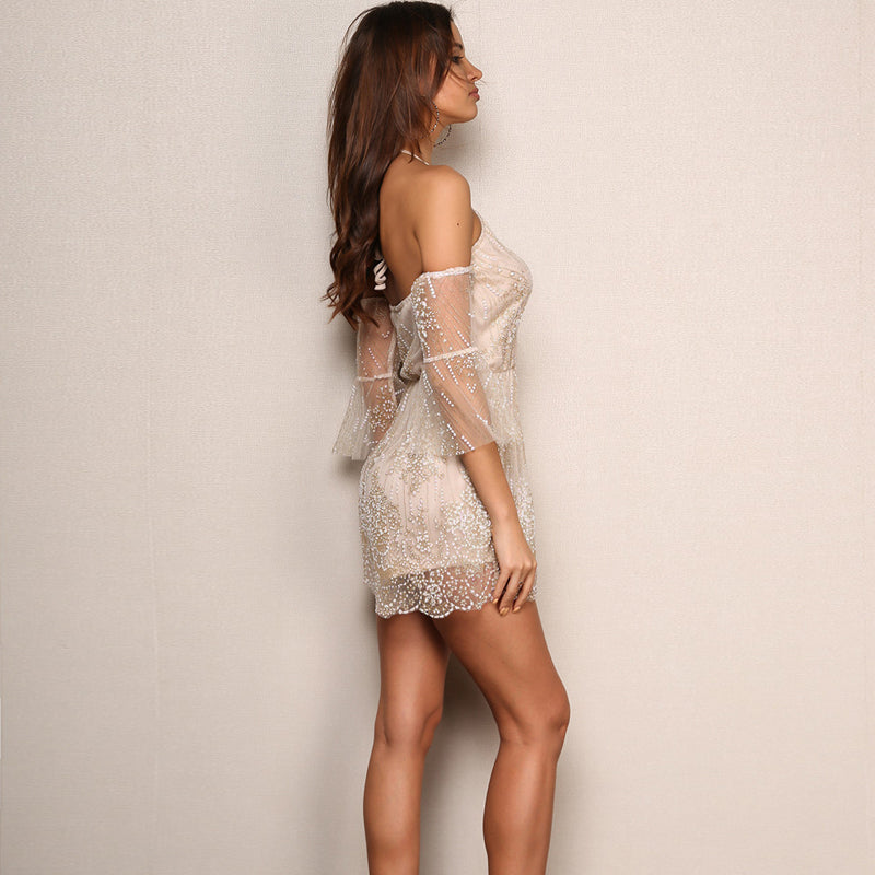 Backless Lace Short Romper