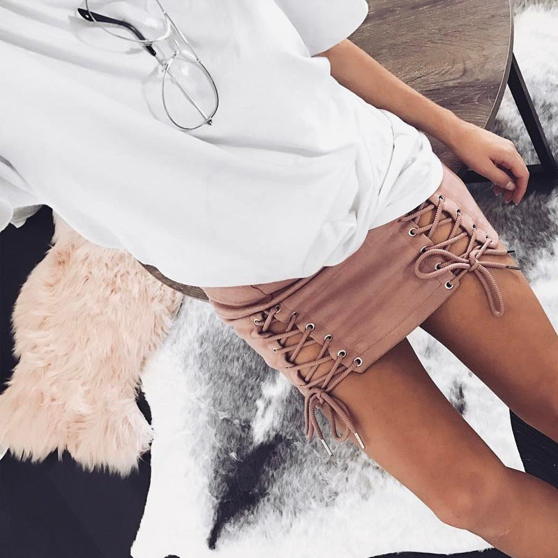 Double Side Lace Up  Above Knee Skirt