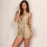 Sparkly Glitter Sequin Deep V Neck Romper Jumpsuit