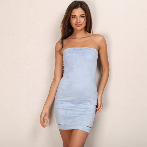 Strapless Suede Mini Dress