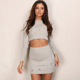 O-neck Hollow Out Knitted 2 Piece