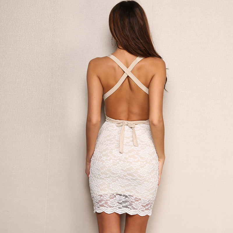 Lace Transparent Deep V Neck Backless Dress
