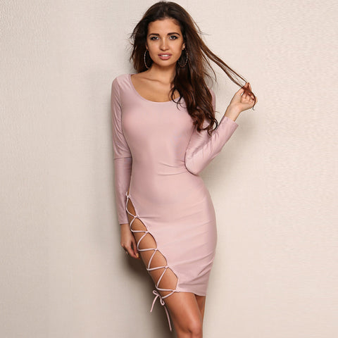 O Neck Long Sleeve Side Hollow Out Dress