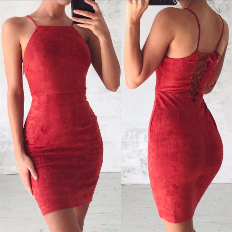 Halter Off Shoulder Package Hip Dress
