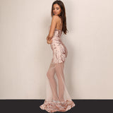 Deep V Sequin Lace Long Dress