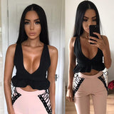 Backless Deep V Ruffle Crop Top