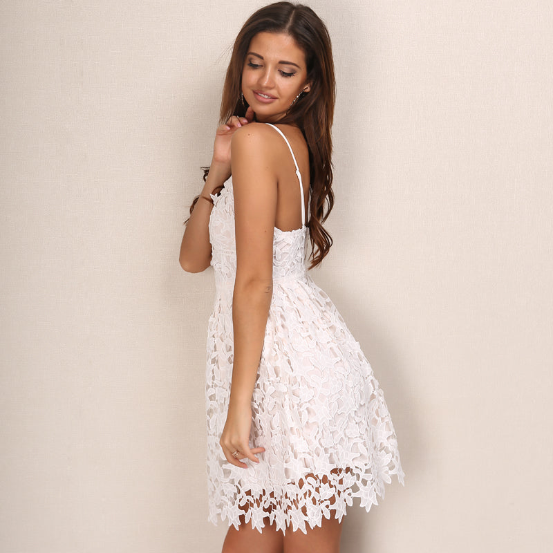 Hollow Out Backless Floral Lace Dress